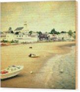 Low Tide Provincetown Cape Cod Massachusetts Shoreline Textured Wood Print