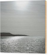 Low Tide Sandy Beach Ripples Silhouetted Against Sun Wood Print