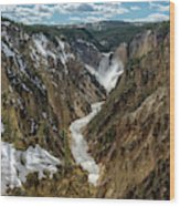 Lower Falls In Yellowstone Wood Print