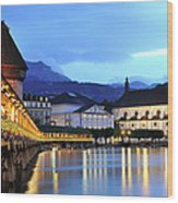 Lucerne At Dusk Wood Print