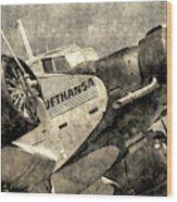 Lufthansa Junkers Ju 52 Vintage Wood Print