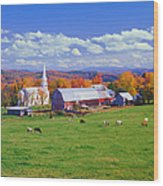 Lush Autumn Countryside In Vermont With Wood Print