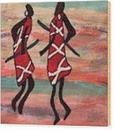 Maasai Dancers Wood Print