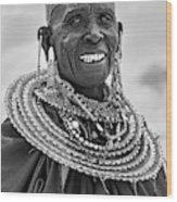Maasai Woman In Black And White Wood Print