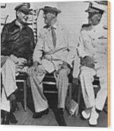 Macarthur, Roosevelt, And Nimitz Wood Print