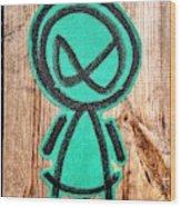 Mad Alien Wood Print