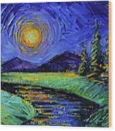 Magic Night - Detail 1 - Fantasy Landscape Wood Print
