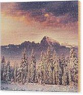 Magical Winter Landscape, Background Wood Print