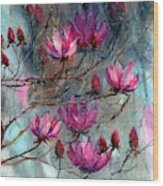 Magnolia At Midnight Wood Print