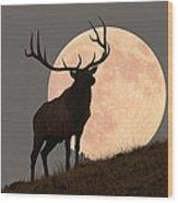 Majestic Bull Elk And Full Moon Rise Wood Print