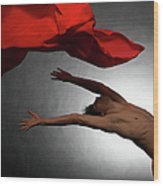 Male Ballet Dancer Dancing With A Red Wood Print