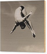 Male Diver In Mid-air Wood Print