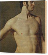 Male Torso. Artist Ingres, Jean Auguste Wood Print