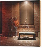 Man And Woman Leaning Against A Brick Wood Print