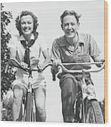 Man And Woman Riding Bikes, B&w, Low Wood Print