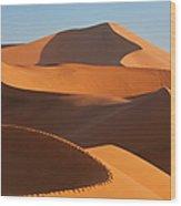 Man Climbing Sand Dunes, Namib Desert Wood Print