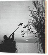 Man Duck-hunting Wood Print