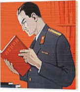 Man Is Reading Lenin Books Wood Print