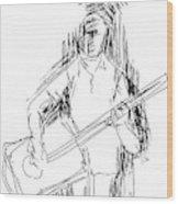 Man On Guitar Wood Print