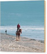 Man Riding On A Brown Galloping Horse On Ayia Erini Beach In Cyp Wood Print