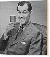 Man Sitting & Having A Beer Wood Print