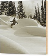 Man Snowboarding B&w Sepia Tone Wood Print