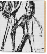 Man Standing With A Bird Wood Print