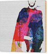 Man With No Name Watercolor Wood Print