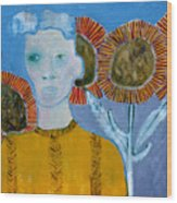 Man With Sunflowers Wood Print
