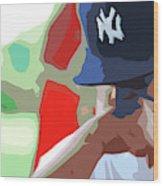 Man With Yankees Cap Wood Print