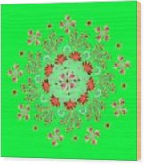 Mandala Flowering Series#3. Green Wood Print