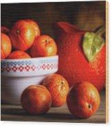 Mandarin Oranges And Orange Shaped Pitcher Wood Print