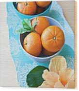 Mandarin Oranges On A Platter Wood Print