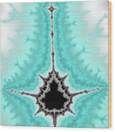 Mandelbrot Fractal Black Aqua White Vertical Wood Print