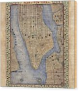 Manhattan New York Antique Map Brooklyn Hand Painted Wood Print
