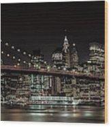 Manhattan Skyline And Brooklyn Bridge Idyllic Nightscape - Panoramic Wood Print