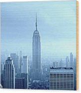 Manhattan Skyline In The Fog, Nyc. Blue Wood Print