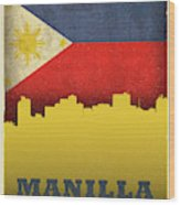 Manilla Philippines City Skyline Flag Wood Print
