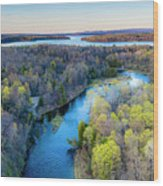 Manistee River And Hodenpyle Dam Aerial Wood Print