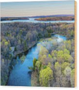 Manistee River Evening Aerial Wood Print