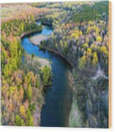 Manistee River From Above In Spring Wood Print