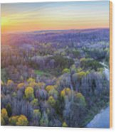 Manistee River Sunset Aerial Wood Print