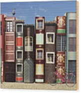 Many Books With Windows Doors Lamps In Wood Print