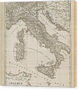 Map Italy 1840 Wood Print