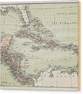 Map Od The Caribbean 1860 Wood Print