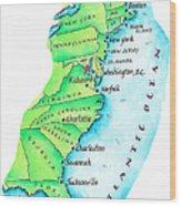 Map Of American East Coast Wood Print