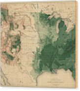 Map Of American Forests 1883 Wood Print
