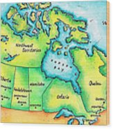 Map Of Canada Wood Print