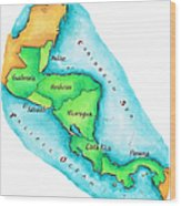 Map Of Central America Wood Print