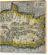 Map Of Crete 1584 Wood Print